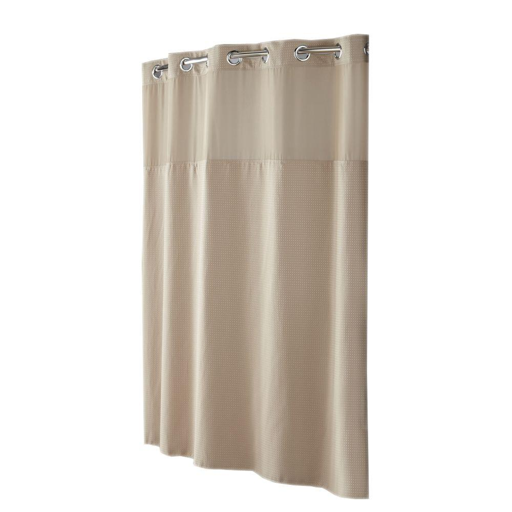 Hookless Shower Curtain Mystery with Peva Liner in Taupe Diamond Pique