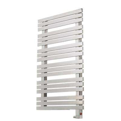 18-Bar Wall Mounted Electric Towel Warmer with Digital Timer in Stainless Steel Polished