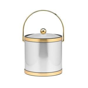 Click here to buy Kraftware 3 Qt. Brushed Chrome and Brass Mylar Ice Bucket with Bale Handle, Lucite Cover and Round Knob by Kraftware.