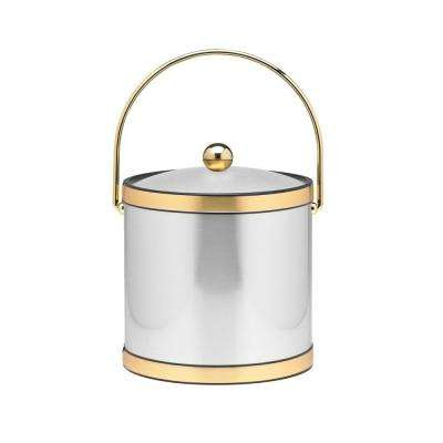 3 Qt. Brushed Chrome and Brass Mylar Ice Bucket with Bale Handle, Lucite Cover and Round Knob