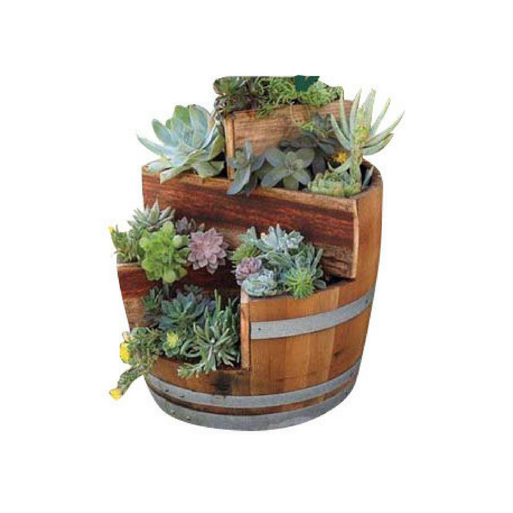 mgp 26 in w 35 in h multi tiers barrel planter with 2 triangle rh homedepot com half wine barrel planters home depot