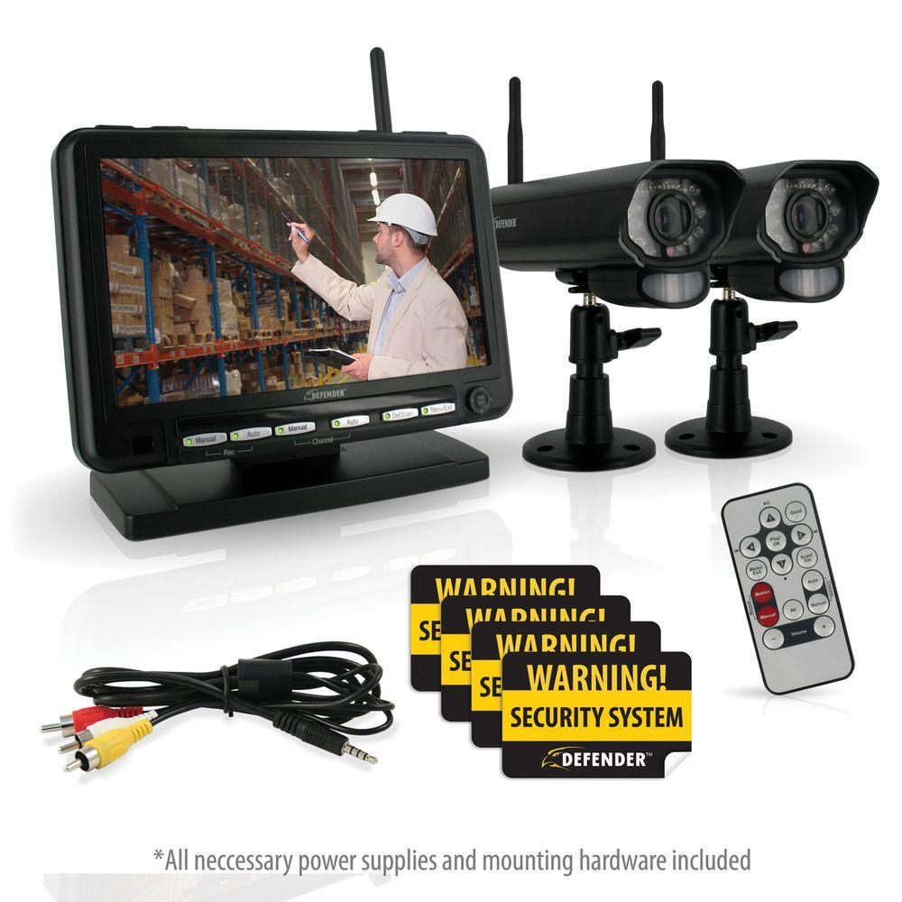 Defender Digital Wireless DVR Security System with 7 in. LCD Monitor, SD Card Recording and 2 Long Range Night Vision Cams