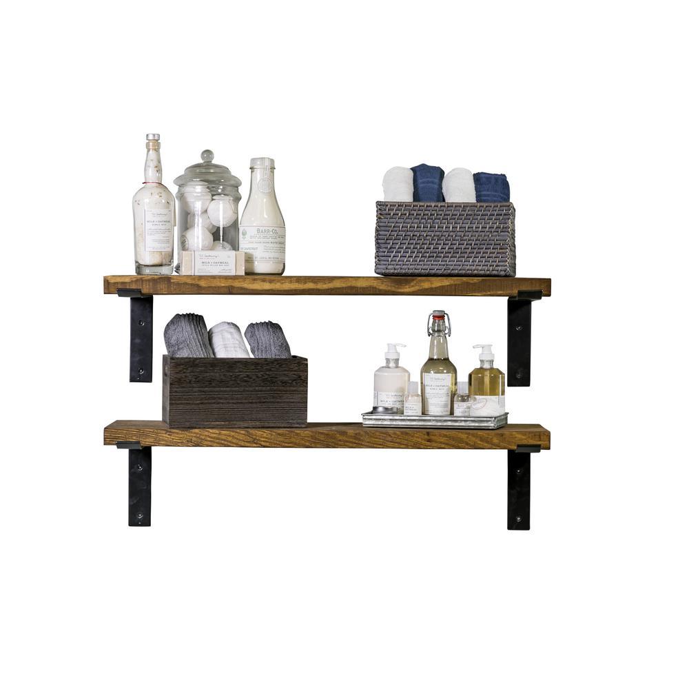 Industrial Bracket 36 in. W x 10 in. D Walnut Decorative Shelves (Set of 2)
