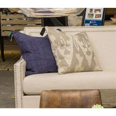 Faith Gray Linen 22 in. x 22 in. Square Embroidery Reversible Decorative Pillow
