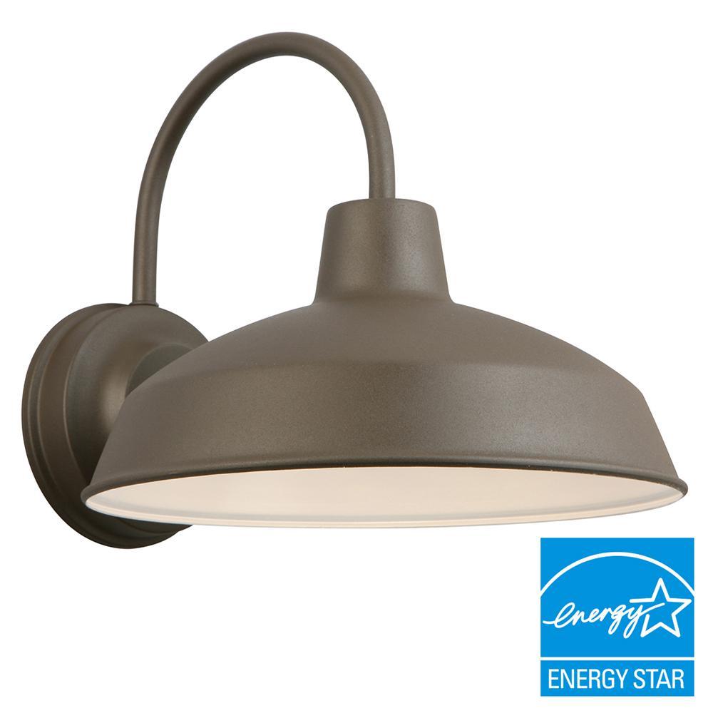 Hampton Bay Bronze Outdoor LED Wall Lantern-IZH1691L-2 - The Home ...