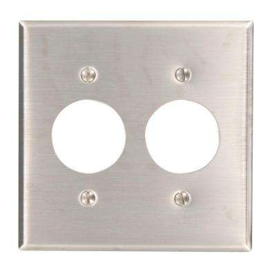 2-Gang Standard Size with 2-Single Outlets and Wall Plate in Stainless Steel