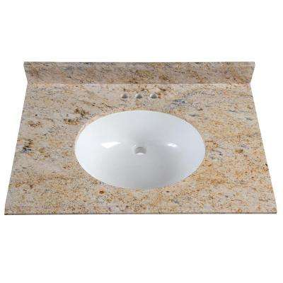 31 in. x 22 in. Stone Effects Vanity Top in Tuscan Sun with White Sink