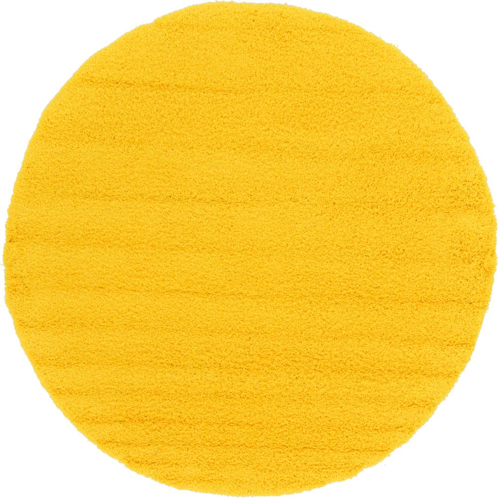 Unique Loom Solid Shag Tuscan Sun Yellow 8 Ft 2 In X 8
