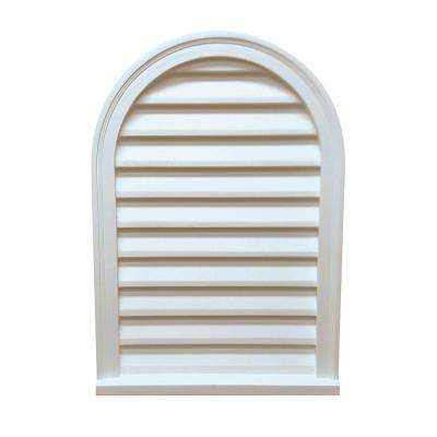 22 in. x 32 in. x 2-3/4 in. Polyurethane Decorative Circle Top Louver Vent in White