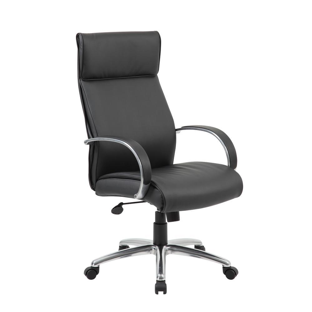 Boss High Back Executive Chair Aluminum Black Upholstery