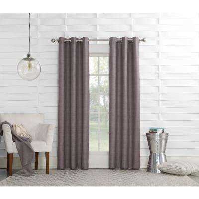 L Plum Thermal Lined Pole Top Curtain