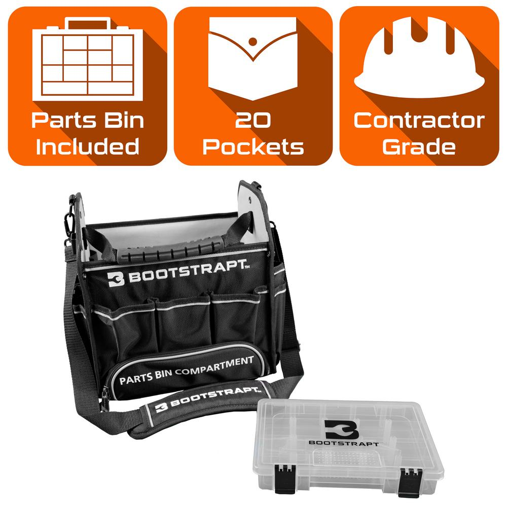 BOOTSTRAPT BOOTSTRAPT 12 in. Electrician's Tote Bag with Integrated Parts Bin Compartment, Black