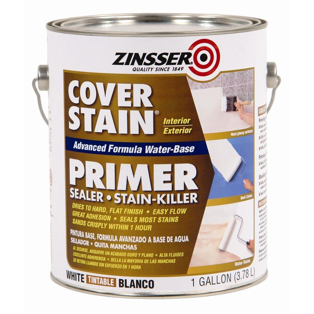 Exterior Paint Coverage Per Gallon: Zinsser 1 Gal. White Cover Stain Water-Based Interior