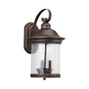 Hermitage 3-Light Antique Bronze Outdoor 20.75 in. Wall Lantern Sconce with Dimmable Candelabra LED Bulb