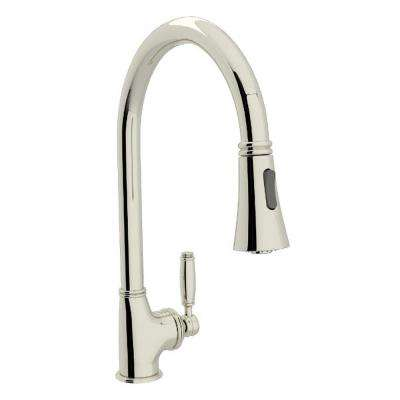Michael Berman Single-Handle Pull-Down Sprayer Kitchen Faucet in Polished Nickel