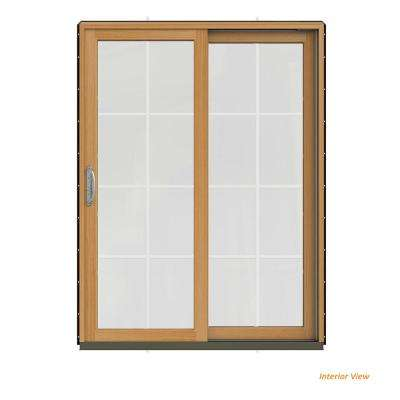 60 in. x 80 in. W-2500 Contemporary Black Clad Wood Right-Hand 8 Lite Sliding Patio Door w/Stained Interior