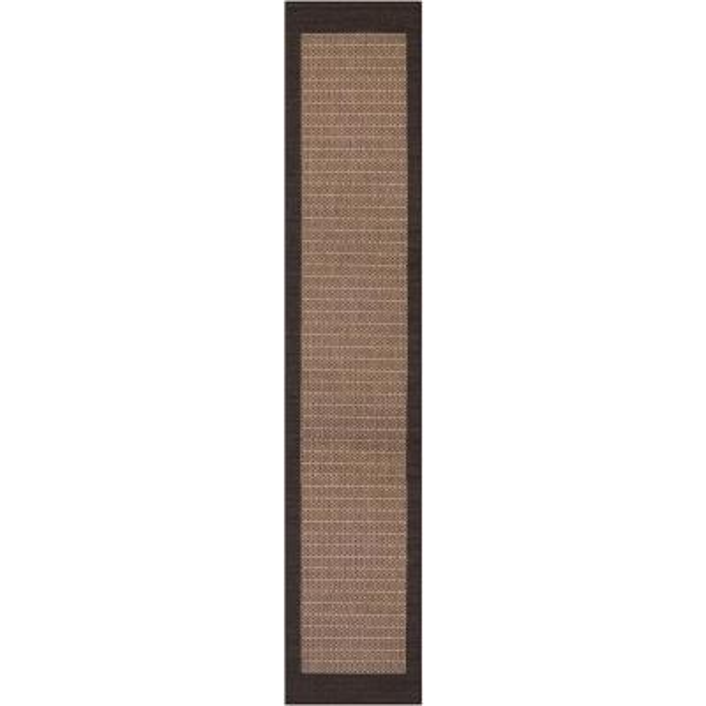 Recife Checkered Field Cocoa-Black 2 ft. x 12 ft. Indoor/Outdoor Runner Rug
