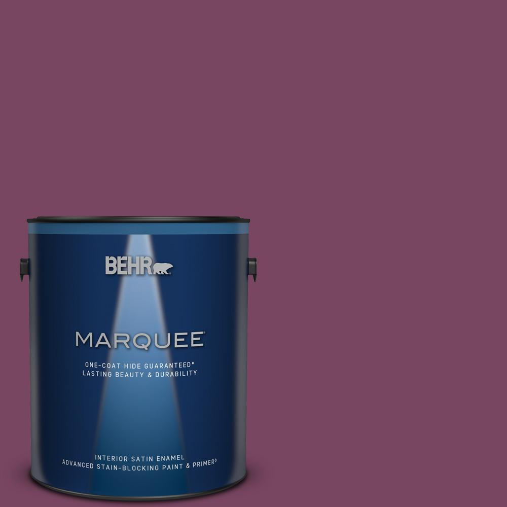 Behr Marquee 1 Gal 690b 7 Plum Jam Satin Enamel Interior Paint And Primer In One 745301 The Home Depot