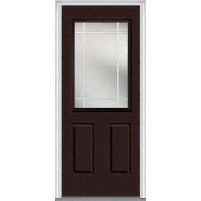 36 in. x 80 in. Prairie Internal Muntins Right-Hand Inswing 1/2-Lite Clear Painted Fiberglass Smooth Prehung Front Door