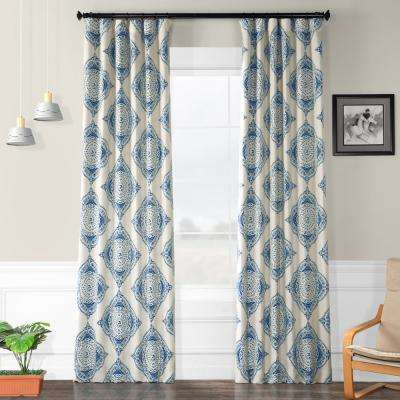 Semi-Opaque Henna Blue Blackout Curtain - 50 in. W x 108 in. L (Panel)