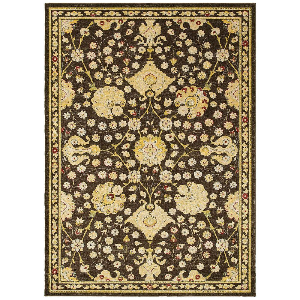 LR Resources Antigua Brown/Green 9 ft. x 12 ft. Plush Indoor Area Rug