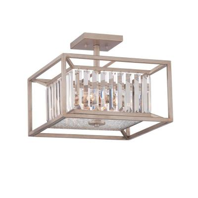 Linares 3-Light Aged Platinum Interior Incandescent Semi Flush Mount