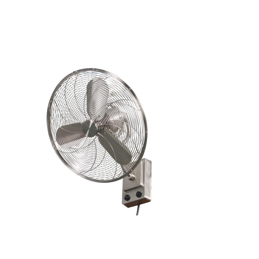 Bentley III 22 in. Indoor/Outdoor Brushed Nickel Oscillating Wall Fan