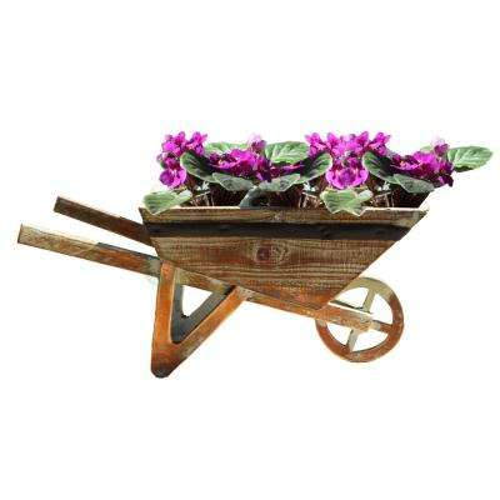 15.4 in. W x 6 in. D x 7 in. H Wood Small Wheelbarrow Planter