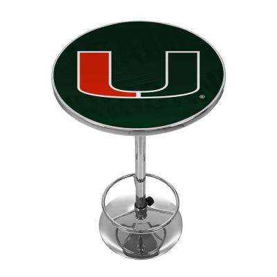 University of Miami Wordmark Chrome Pub/Bar Table