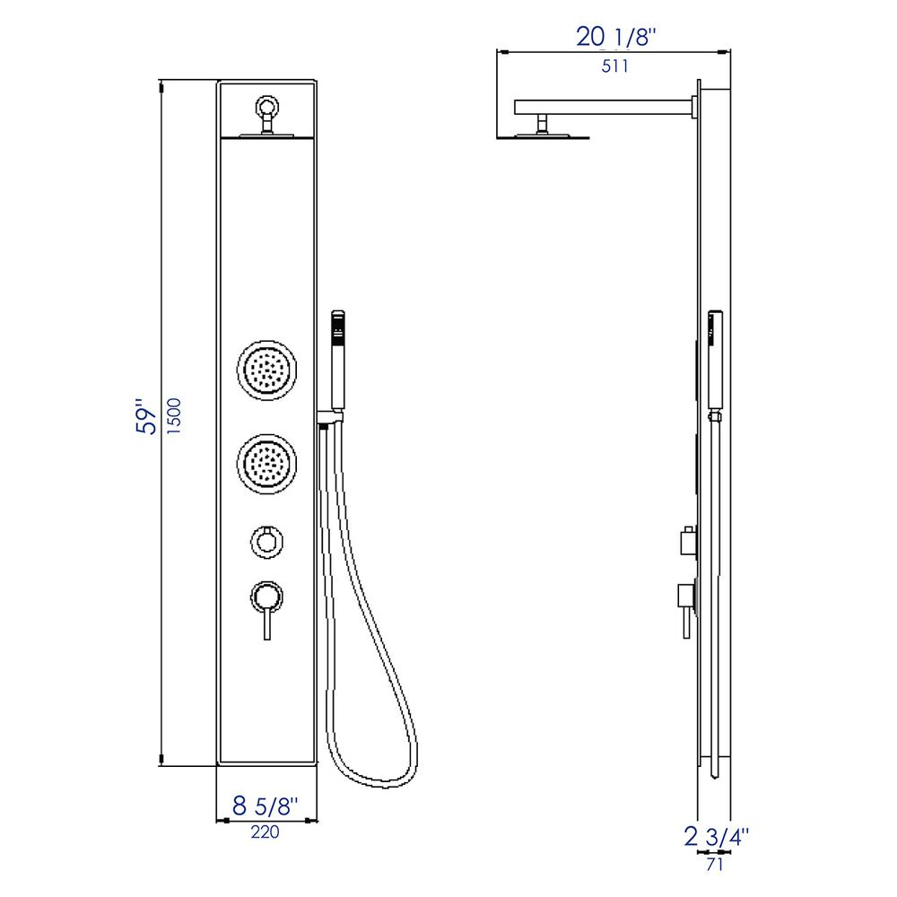 5 in1 Shower Panel Tower System Stainless Steel Home Reinforced Elegant HOT