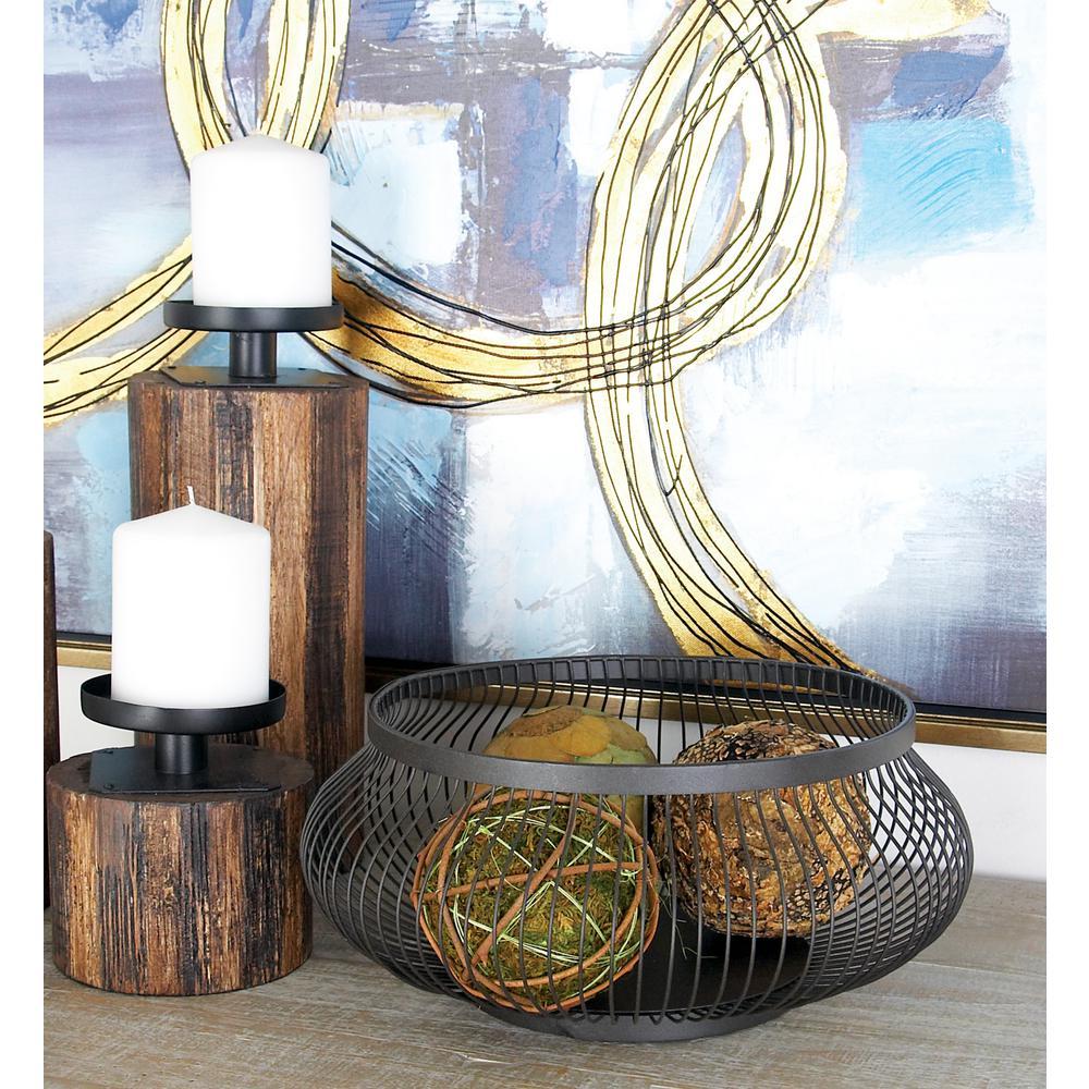 6 in. H x 5 in. H x 5 in.H Round Black Metallic Decorative Basket (Set of 3)