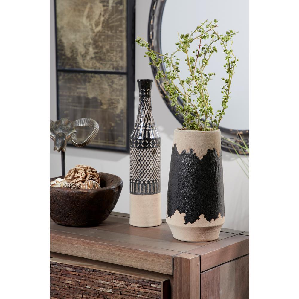 12 in. Black and Tan Ceramic Decorative Vase