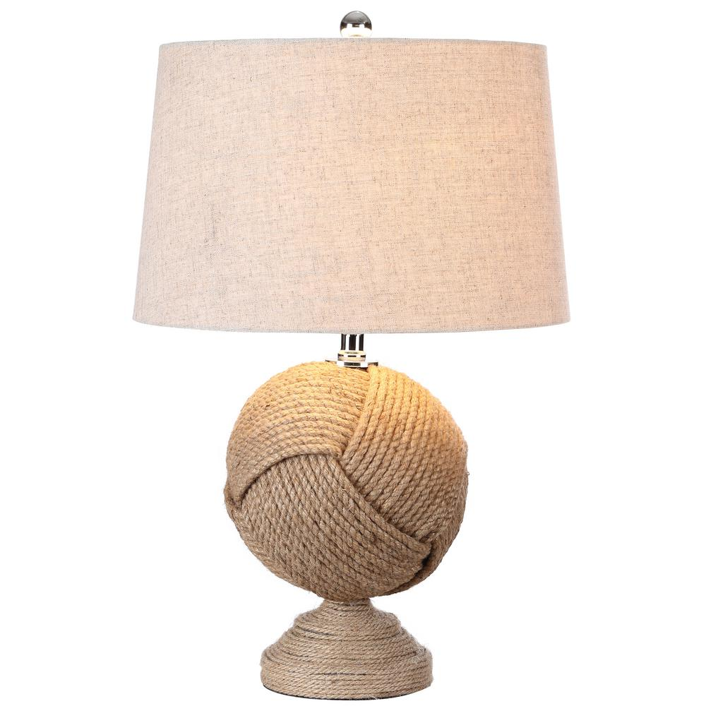 H Brown Knotted Rope Table Lamp