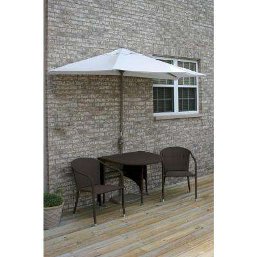 Terrace Mates Genevieve 5-Piece Java Patio Bistro Set with 7.5 ft. Natural Olefin Half-Umbrella