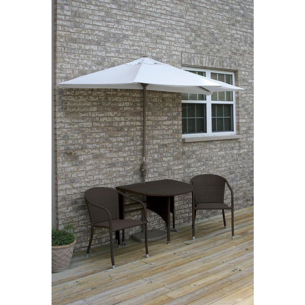 Blue Star Group Terrace Mates Genevieve 5-Piece Java Patio Bistro Set with 9 ft. Natural Sunbrella Half-Umbrella