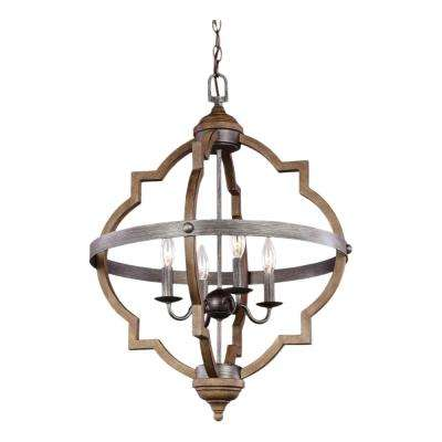 Socorro 20.875 in. W. 4-Light Weathered Gray and Distressed Oak Hall-Foyer Pendant with Dimmable Candelabra LED Bulbs