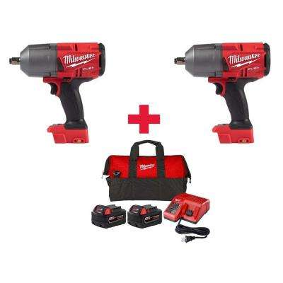 M18 FUEL 18-Volt  Brushless Cordless 1/2 in. Impact Wrench W/ Friction Ring (2-Tool) W/(2)5.0Ah Batteries & Charger