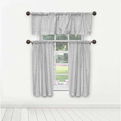Liliana Kitchen Valance in Tiers/Grey - 15 in. W x 58 in. L (3-Piece)