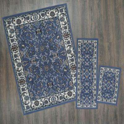 Ariana Blue/Ivory 5 ft. x 7 ft. 3-Piece Rug Set