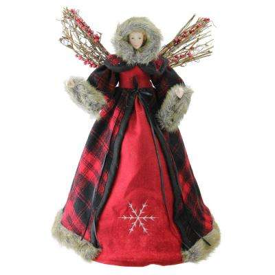 16 in. Holiday Moments Plaid Twig and Berry Winged Angel Figure Christmas Decoration