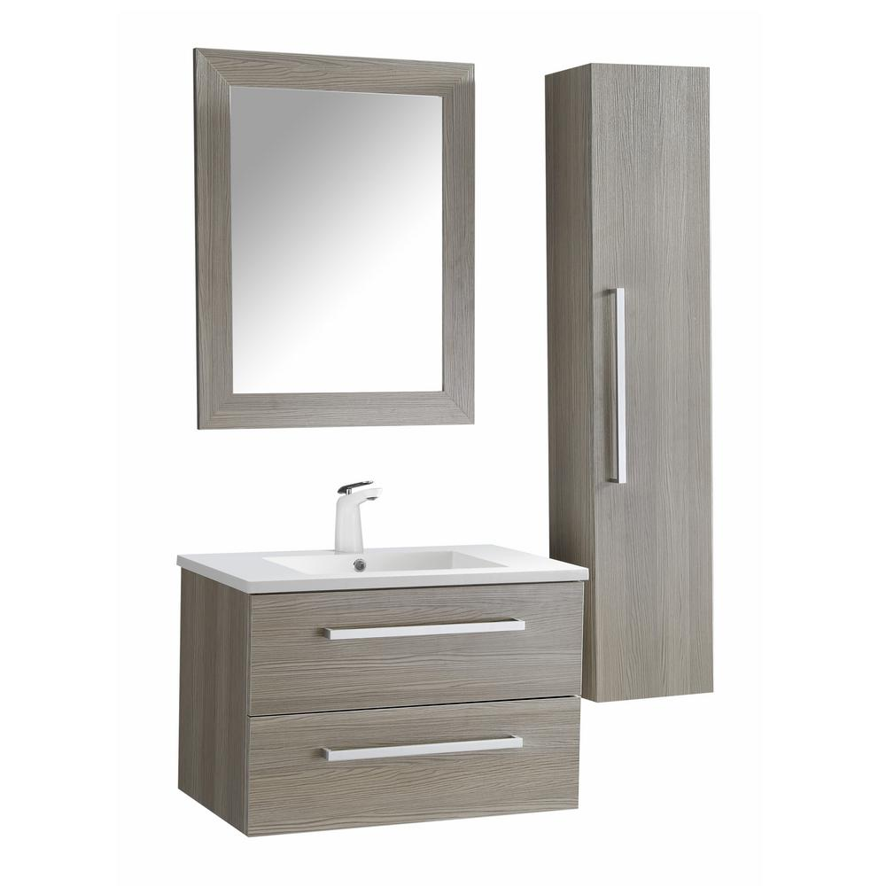 ANZZI Conques 30 in. W x 20 in. H Bath Vanity in Rich Gray with Ceramic Vanity Top in White with White Basin and Mirror