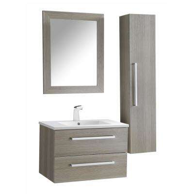 Conques 30 in. W x 20 in. H Bath Vanity in Rich Gray with Ceramic Vanity Top in White with White Basin and Mirror