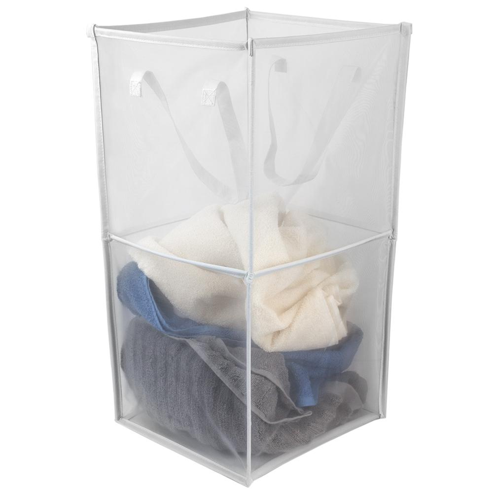Medium Breathable Micro Mesh White Collapsible Laundry Cube