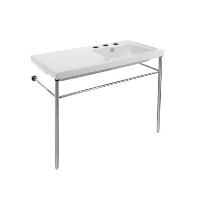 Condal Ceramic Console Bathroom Sink in White with 3 Faucet Holes and Chrome Stand