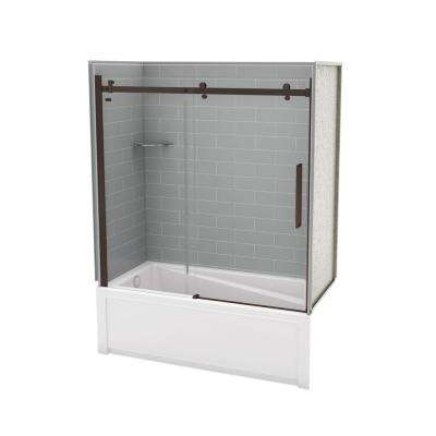 Utile Metro 30 in. x 59.8 in. x 81.4 in. Left Drain Alcove Bath and Shower Kit in Ash Grey with Dark Bronze Door