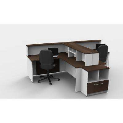 9-Piece White/Espresso Office Reception Desk Collaboration Center