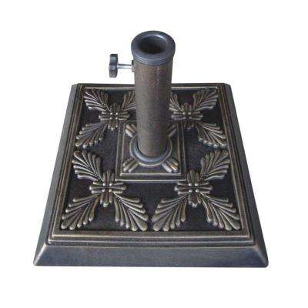 16.5 in. Square Cast Stone Umbrella Base in Bronze