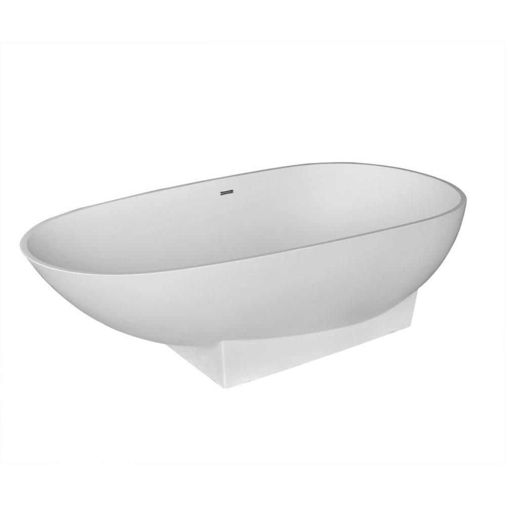 Universal Tubs Silk Stone 6 ft. Artificial Stone Center Drain Oval ...