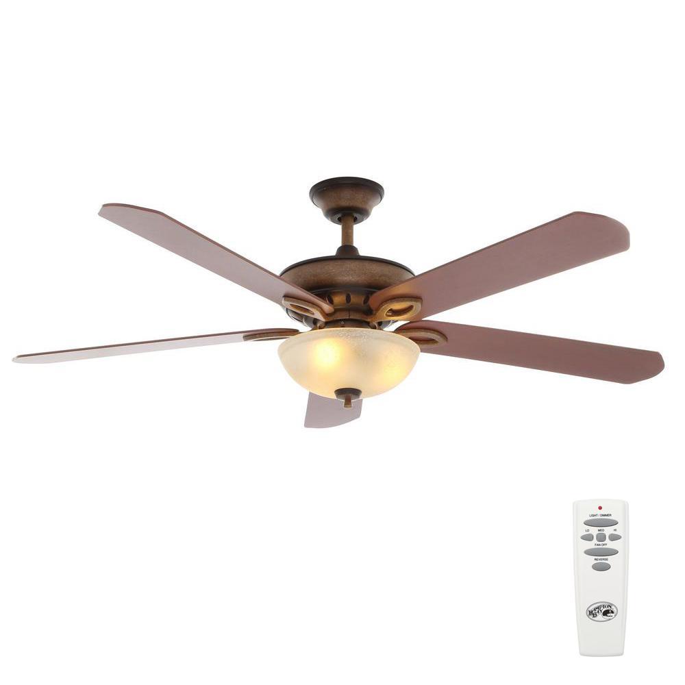 Hampton Bay Savona 52 In Indoor Weathered Bronze Ceiling