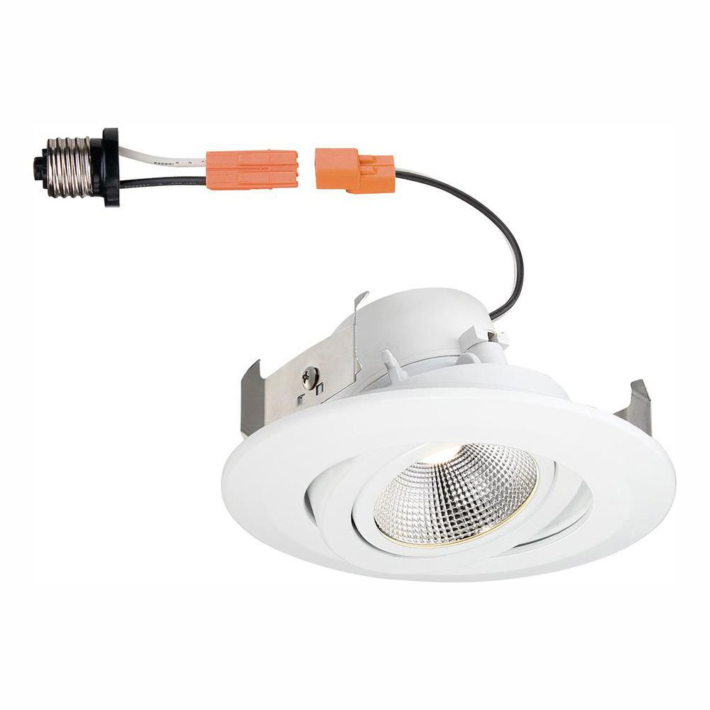 Commercial Electric 4 In White Integrated Led Recessed Gimbal Trim With Pivot And Rotate